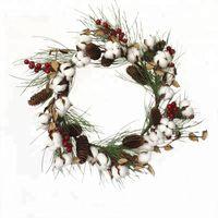 ingrosso bacche essiccate-1 corona decorativa del cotone da 20 pollici del pc / lotto con la bacca rossa e Pinecone liberano il trasporto