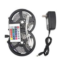 controlador de fita led rgb venda por atacado-RGB LED Luzes de Tira 5050 5 M 10 M IP20 DIODO EMISSOR de Luz Rgb Leds Fita Conduzida Fita Flexível Mini Controlador IR DC12V Iluminação Férias