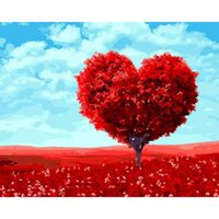 Wholesale red scroll - Red Heart Trees 5D DIY Mosaic Needlework Diamond Painting Embroidery Cross Stitch Craft Kit Wall Home Hanging Decor