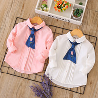 Wholesale girls white long sleeve blouse - Everweekend Kids Girls Cute Classic Fashion Floral Bow Tie Shirts Tees Long Sleeve Candy White Pink Color Autumn Blouse B11