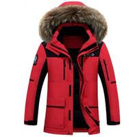 ingrosso grande cappotto di pelliccia-2018 New Winter Down Jacket Raccoon Fur Hood uomo Abbigliamento di alta qualità Giacche casual Ispessimento Parka Maschio cappotto grande