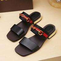 señoras productos al por mayor-A67 2018 Nuevos productos de moda Sandalias de cuero de señora Nuevo estilo de lujo europeo clásico sandalias de cuero de señoras decoración de cuero