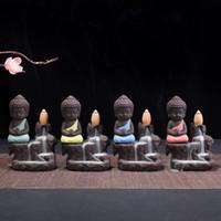 lila keramik großhandel-Sicherheitsschaumverpackung Kleiner Buddha Räuchergefäß mit Rückfluss Weihrauch Lila Sand Mönch Räuchergefäß Mini Keramik Ornament Duftberg 12ds bbkk