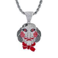 замаскированная кукла косплей оптовых-Новый хип-хоп бензопила призрак маска куклы ожерелье Хэллоуин косплей ювелирные изделия полный Циркон кулон ювелирные изделия