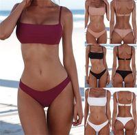 üçgen sutyen l toptan satış-2018 Yeni Yaz Kadın Katı Bikini Set Şınav Unpadded Sutyen Mayo Mayo Üçgen Bather Suit Yüzme Suit biquini