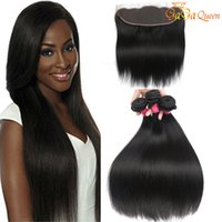 Wholesale Human Ears - Brazilian Straight Human Hair Bundles with Ear to Ear Lace Frontal With Bundles Unprocessed Brazilian Straight Hair With Frontal Closure