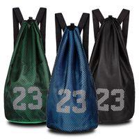 cordón para hombre al por mayor-2018 Basketball Backpack Men Basketball Bags For Balls Cordón de lazo de lazo Mash Pack Fitness Bucket Bag Fútbol Net Gym Bags