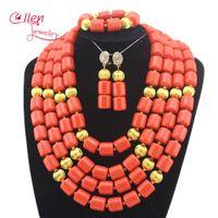 afrikanische korallenhalsketten großhandel-African Coral Perlen Schmuck-Set Nigerian Perlen Hochzeit Schmuck-Sets für Braut Erklärung Halskette billig E1116