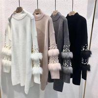 pulôveres de peles venda por atacado-Novo Faux Fur Embellished Camisola de Manga Longa-luva Jumpers com pérolas Gola Pull Pullover Jersey Mujer Invierno
