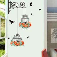 vinilo jaula de pájaros al por mayor-Flor colorida Flying Birdcage para la sala de estar pegatinas de pared tatuajes de pared de vinilo etiqueta de la pared decoración para el hogar