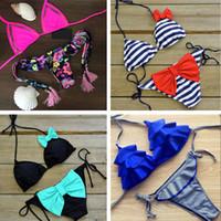 Wholesale Brazilian Micro Bikini Swimwear - Sexy Striped Swimsuit Bikini swimwear 2018 women Beach Push up Micro Bow Bikini Set Brazilian Biquini Beach Bathing Suits