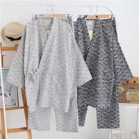 pijama desenleri toptan satış-Yaz erkek Bayan Kimono Pijama Setleri Pamuk Çift katlı Gazlı Bez Erkekler Uyku Nightly Geometrik Desenler Gecelik Pijama