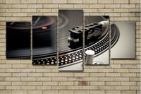Wholesale bar wall canvas art resale online - 5PCS Canvas Paintings Home Decor HD Prints Dance Hall Bar Posters Piece DJ Music Instrument Turntables Pictures Night Club Wall Art