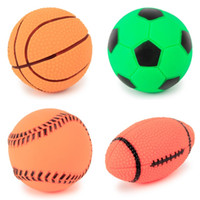 Wholesale durable pet toys resale online - With Sound PVC Pet Sport Ball Puppy Training Chewing Squeaky Toys Durable Eco Friendly Dog Balls Hot Sale tt Y