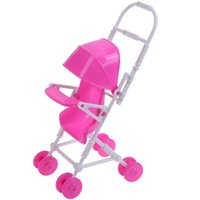 Wholesale stroller accessories toys online - 9pcs set Miniature Doll Stroller Kids Play House Nursery Furniture Toys Plastic Trolley Dolls Accessories Toys for Girls Dolls