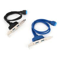 кабели материнской платы pc оптовых-50 см двойной порт USB 3.0 20-контактный разъем 2 X USB A женский материнская плата ПК материнская плата кабель-адаптер PCI кронштейн панели