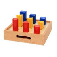 ingrosso cerchio triangolo quadrato-Montessori Material Math Toys Geometry Pillar Geometry Solid Ladder Box Circle Triangle Square Early Education