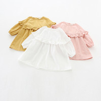 Wholesale girls lantern sleeve for sale - Group buy INS styles new arrival Girl dress kids spring long sleeve solid clor round collar ruffles dress girl elegant dress colors free ship