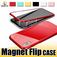 Wholesale apple iphone cell phone bumpers online – custom 360 Fashion Magnetic Phone Case for iPhone X Plus Magnet Adsorption Flip Cover PC Bumper Tempered Glass Cell Phone Cases