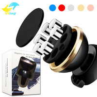 Wholesale iron packaging - phone car bracket 360 Degree with 6 magnetic-iron Magnetic Stand Car Phone Mount Holder Universal Mobile Phone with retail package
