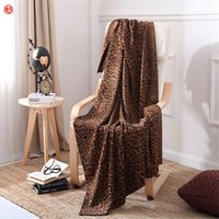 Wholesale Cotton Leopard Sheets - Fashion Brown Leopard blanket gray knitted throw blanket for knee sofa bed car 100%cotton 200*230cm soft bed sheet home textile