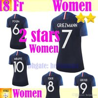 Wholesale two star - 2018 two stars Champion team woman Mbappe GRIEZMANN POGBA soccer Jersey blue white PAYET DEMBELE KANTE national team football shirts COMAN