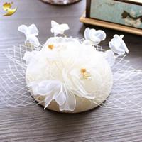 Wholesale Linen Lace Wedding Dresses - The original bride jewelry handmade lace wedding dress linen cap European Korean hair wedding accessories