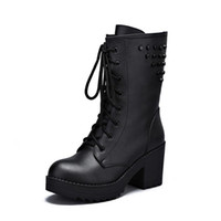 женские сапоги на высоком каблуке оптовых-Autumn And Winter Female Motorcycle Boots Martin Thick With Leather Boots Wind High Heels Womens Boots Plus Veet Shoes