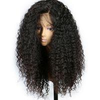 черные женские парики оптовых-250% высокой плотности парики фронта шнурка человеческих волос с волосами младенца 7A афро странный вьющиеся бразильские человеческие волосы парики шнурка для чернокожих женщин