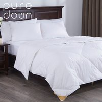 Wholesale goose down bedding resale online - Puredown Home Bed Lightweight White Fill Down Blend Comforter Duvet Insert Cotton Fabric White Four Seasons