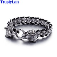 Wholesale cool wrap bracelets resale online - TrustyLan Punk Rock Man Jewelry L Stainless Steel With Genuine Leather Wrap Bracelet Men Cool Double Wolf Head Animal Armband