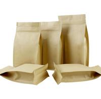 sacos de doces de casamento marrom venda por atacado-12 * 22 + 6 1000 pcs stand up brown sacos de papel kraft Ziplock caixas recicláveis para o casamento / Presente / Jóias / Comida / Pacote de Doces Caixa De Papel SN1309