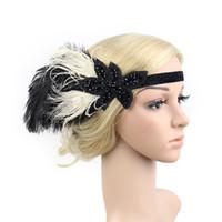 headband de pena rhinestone venda por atacado-6 PCS Acessórios Para o Cabelo Preto Rhinestone Beaded Lantejoula Faixa de Cabelo 1920s Do Vintage Gatsby Partido Headpiece Mulheres Flapper Pena Headband