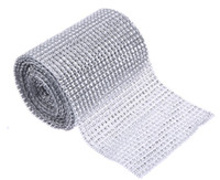 Wholesale diamond rhinestone ribbon wrap roll silver for sale - Group buy 5 Yard Sparkle Mesh Trim Diamond Wrap Roll Rhinestone Silver Ribbons Wrapper Roll for Wedding Party Decoration