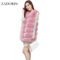 Wholesale Brown Fur Vest Women Sleeveless - 2017 Faux Fur Vest Fashion Faux Fur Coats Women Sleeveless Long Jacket Gilet Fourrure manteau femme vests S-4XL