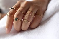 Wholesale 14k gold stacking rings - 10 PCS Lots Stacking Rings Wave Geometric Hematite Knuckle Nail Ring Sets Simple Shiny Light Gloden Midi Ring for Women