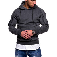 raglan hoodies оптовых-Men  Casual Fashion Men Sweatshirt Men'S Pullover Coats Striped Pleated Raglan Sleeve Hoodie With Pockets Plug Size 3XL