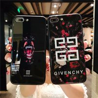 Wholesale fit french - French Fashion Show Brand Phone Case for iphone X Tempered Glass Back Cover TPU Edge Cellphone case for iphone 6 6s 7 8 plus Famous Shell