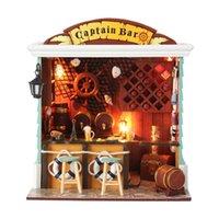 freie hausmöbel großhandel-Geschenke Neue Marke DIY Puppenhäuser Hölzernes Puppenhaus Unisexpuppenhaus Spielzeug Möbel Miniatur handwerk C004 freies verschiffen