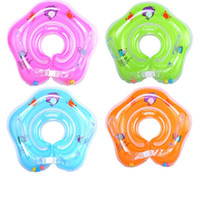 Wholesale baby swimming ring swim tube resale online - baby swim swimming neck float inflatable ring tube adjustable safety aids newborn baby swimming bath toy rings