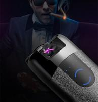 Wholesale Led Usb Rechargeable Lighter - USB Lighter Rechargeable Electronic Lighter LED Screen Dual Arc Cigarette Accessory Plasma Induction Palse Pulse Thunder Lighter