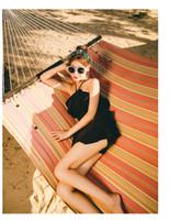 siyah spandex bodysuit toptan satış-Kadınlar Mütevazı Fırfır Swim Becerileri Siyah Spandex Halter Tek Parça Etek Mayo Serin Yaz Mayo Bodysuit