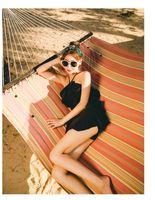 Wholesale modest swimwear online - Women Modest Ruffle Swim Skits Black Spandex Halter One Piece Skirt Swimwear Cool Summer Swimsuit Bodysuit
