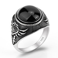 кольца для покера в покер оптовых-Real 925 Sterling Silver Men Ring Black Big Agate Natural Stone Personality Poker Featured for Men Women Lovers Jewelry