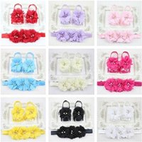 Wholesale cute purple baby shoes online - Cute Newborn Baby Infant Girl Rose Flower Headband Barefoot Ring Sandals Shoes