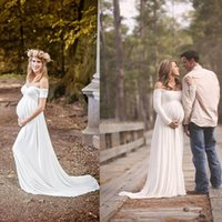 Wholesale long shirts for women simple - 2018 Maternity Wedding Gowns Empire White Soft Chiffon Off The Shoulder Simple Bridal Dresses Plus Size Dress For Pregnant Woman