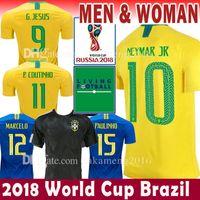 Wholesale Neymar Brazil Soccer - 2018 World Cup Brazil Soccer Jersey Brasil 10 NEYMAR JR Football Shirts 9 G.JESUS 11 COUTINHO MARCELO 12 13 Marcos camisa de futebol