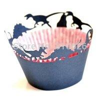 ingrosso torte di tazza nera-(12 pz / lotto) Spedizione gratuita nero dinosaur laser cut Lace cupcake wrapper cup cake wrap per la decorazione di compleanno festa di compleanno