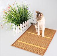 coussin de chaleur en bambou achat en gros de-Été Chaleur Cool Pad Puppy Bambou Tapis Chat Refroidissement Paille Bambou Cosy Tapis De Sol Pad De Glace Pour Garder Animal De Compagnie Frais