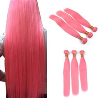 Wholesale pink human hair bundles resale online - Virgin Peruvian Pink Human Hair Weave Bundles g Pure Colored Light Pink Hair Double Weft Extensions Mixed Length